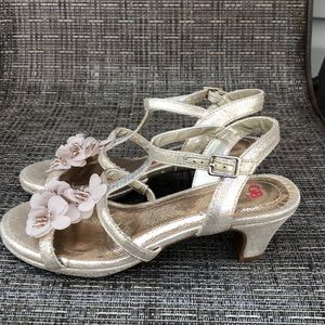 """GB girls rose gold sandals with 1 1/2"""" heels"""